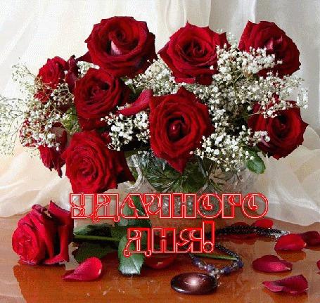 Анимация Красные розы в вазе с надписью удачного дня (© qalina), добавлено: 01.06.2015 17:18
