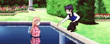 Анимация Девушка затащила мальчика в воду, кадр из аниме Soredemo Sekai wa Utsukushii