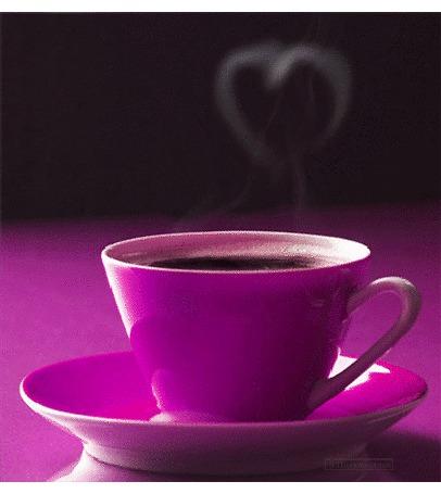 Анимация На столе стоит сиреневое блюдце и чашка с горячим кофе, от которого идет пар в виде сердечка
