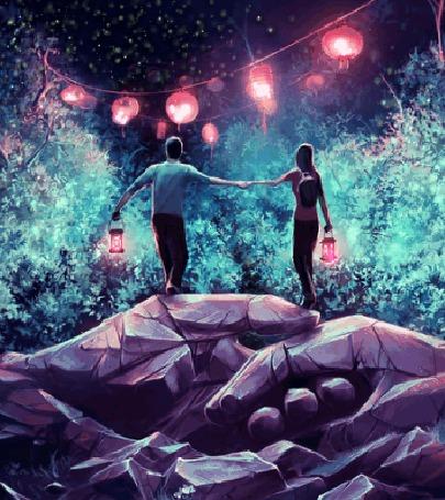 Анимация Парень c девушкой стоят на каменных руках с фонариками в руках, а перед ними весят светящимися фонарики, by AquaSixio