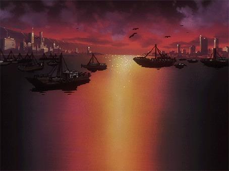Анимация Кораблики на воде на фоне заката (© zmeiy), добавлено: 02.06.2015 10:41