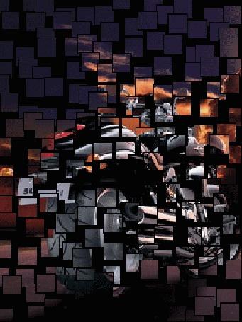 Анимация Из мозаики складывается картинка мотоцикла Suzuki, стоящего на дороге под вечерним небом