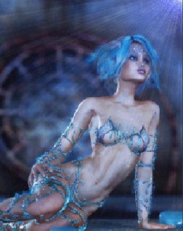 Анимация Девушка эльф с голубыми волосами, сидит обвитая голубыми побегами фантастического растения, над ее головой светит яркая звезда (© Akela), добавлено: 02.06.2015 18:57