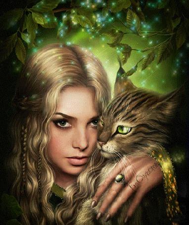 Анимация Девушка прижимает к себе кота, на фоне зелени, идет магическое свечение