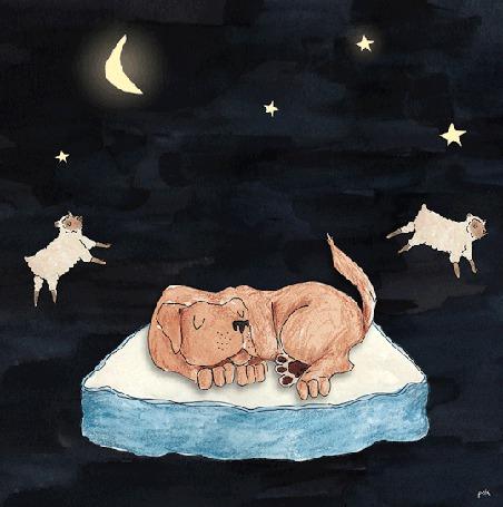Анимация Через спящего пса прыгают овечки (© zmeiy), добавлено: 03.06.2015 23:07