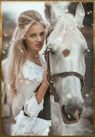 Анимация Девушка с белым конем (© zlaya), добавлено: 03.06.2015 23:24