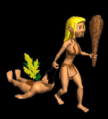 Анимация Девушка из первобытнообщинного строя, и одетая соответственно, идет решительным шагом, в левой руке сжимает увесистую дубину, правой рукой тащит за волосы крупного мужчину с букетом мимозы