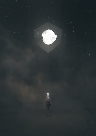 Анимация Девушка стоит под луной в кубе