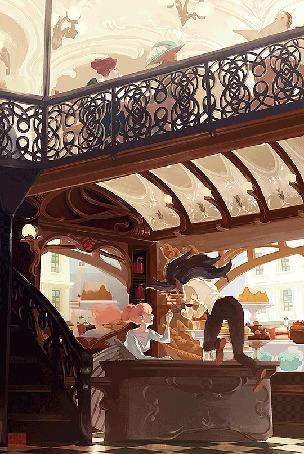 Анимация Девушка сидит в кафе, над рукой летает еда, и зависшая в воздухе официантка (© ВалерияВалердинова), добавлено: 04.06.2015 14:18