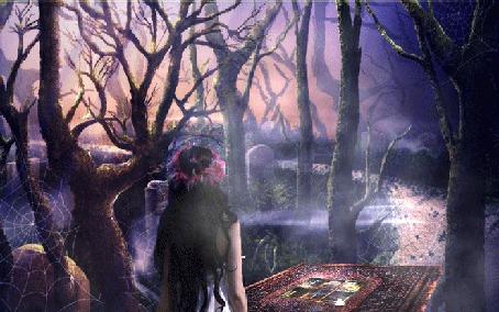 Анимация Девушка в венке среди темных деревьев, возле магической книги, которую охраняет призрак