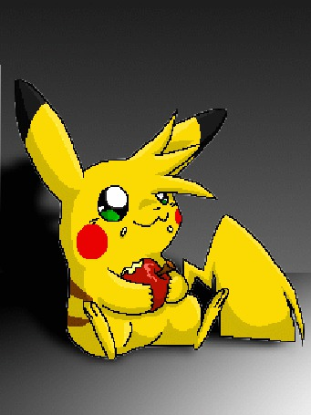 Анимация Пикачу кушает яблоко, герой из аниме Покемоны
