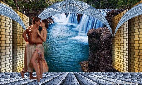 Анимация У водопада на мостике стоят парень и девушка обнявшись, на склоне деревья травы, горные утесы, вода искрится, арка и стены огараживают водопад, надпись (Топ Аркада) (© Valensia), добавлено: 05.06.2015 08:39