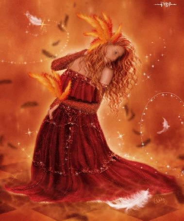 Анимация Девушка на красном фоне в длинном платье с перьями в волосах и на руке