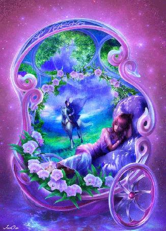 Анимация Девушка спит в цветах и мечтает о сказочном принце на коне, АссОль (© Natalika), добавлено: 06.06.2015 11:23