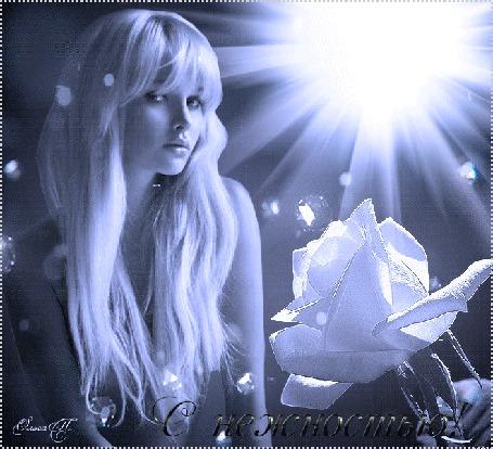 Анимация Девушка блондинка в лучах солнца, розы и алмазные блики (С нежностью) Ольга П (© Natalika), добавлено: 06.06.2015 11:30