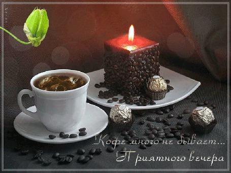Анимация Кофе в чашке, рядом рассыпаны зерна кофе, горит свеча, три конфеты (Кофе много не бывает. Приятного вечера) Лилия (© Natalika), добавлено: 06.06.2015 11:50