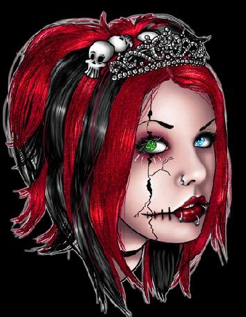 Анимация Готическая девушка с короной и черепами на голове один глаз зеленый другой голубой (© qalina), добавлено: 06.06.2015 12:03