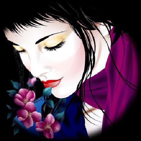 Анимация Черноволосая девушка с цветами и с красной помадой на губах плачет