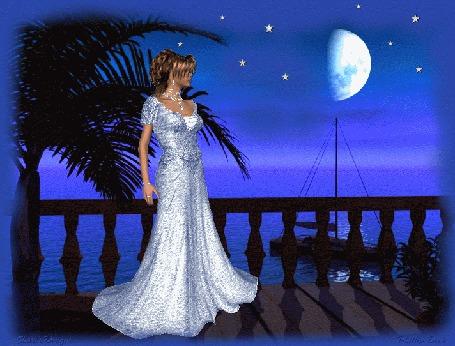 Анимация Девушка стоит на веранде рядом с пальмой при лунном освещении и смотри в море (© qalina), добавлено: 06.06.2015 12:17