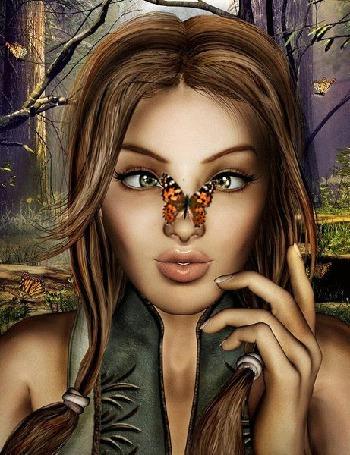 Анимация Красивая девушка с бабочкой на носу
