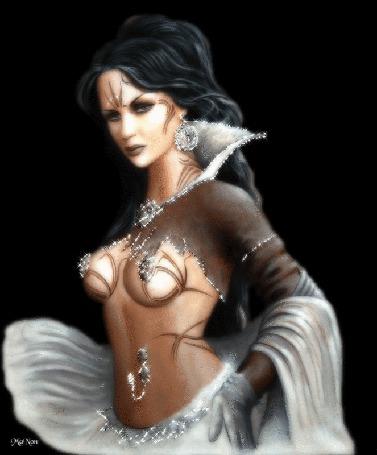 Анимация Красивая девушка с длинными черными волосами с сережками с надпись manon