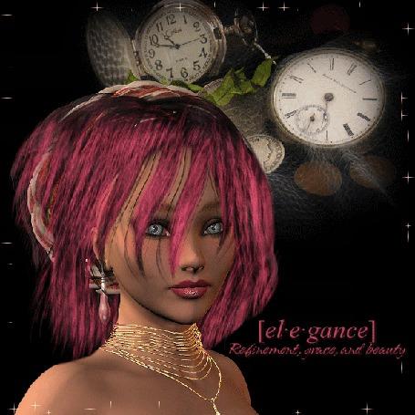 Анимация Девушка с розовыми волосами с сережками и украшением на шее на фоне часов надписью el. e. gance (© qalina), добавлено: 06.06.2015 12:49