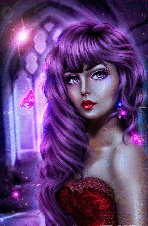 Анимация Девушка с фиолетовыми волосами в красном платье с красной помадой на губах / автор ЕВА