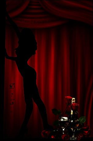 Анимация Девушка танцует на фоне красных роз и шампанского надпись ДИЗА-74 (© qalina), добавлено: 06.06.2015 19:06