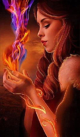 Анимация Девушка держит в руках волшебный огонь (© Akela), добавлено: 07.06.2015 04:07