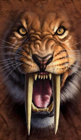 Анимация Саблезубый тигр открыл пасть с огромными клыками