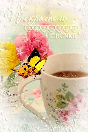 Анимация Бабочка сидит на чашке с чаем на пастельном фоне цветов в банке (Прекрасного летнего денечка) Е. Лузан (© Natalika), добавлено: 07.06.2015 15:46