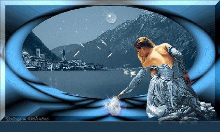 Анимация На полу сидит девушка, касаясь рукой лотоса, в окне илюминатора пейзаж, видны горы, город и озеро, по которому плавают лебеди, летают чайки