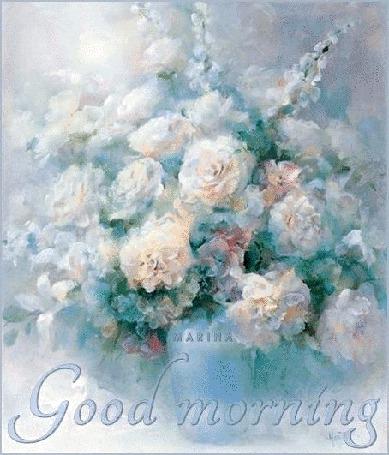 Анимация Пастельный букет цветов в вазе на светлом фоне (Good morning, Доброе утро) MARINA (© Natalika), добавлено: 08.06.2015 09:16