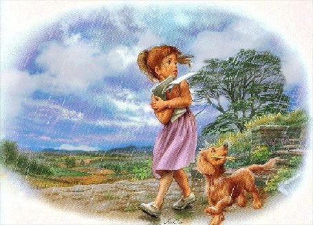 Анимация Девочка с листами бумаги в руках вместе с собачкой убегают от дождя, АссОль (© Natalika), добавлено: 08.06.2015 09:26
