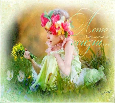 Анимация Девочка с венком на голове, с букетиком цветов в руке сидит в траве на фоне бабочек (Лето - это маленькая жизнь.) Svetik