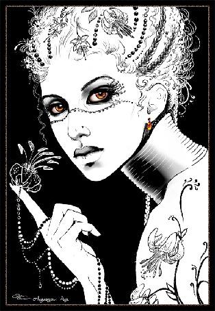 Анимация Девушка на темном фоне держит на пальчике украшение Анимация РАЙ (© qalina), добавлено: 10.06.2015 09:53