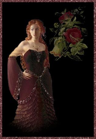 Анимация Девушка с длинными рыжими волосами с украшениями на фоне красных цветов (© qalina), добавлено: 10.06.2015 10:07