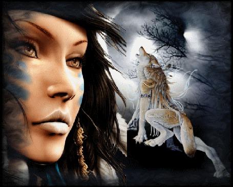 Анимация Грустная девушка на фоне луны и воющего волка (© qalina), добавлено: 10.06.2015 10:09