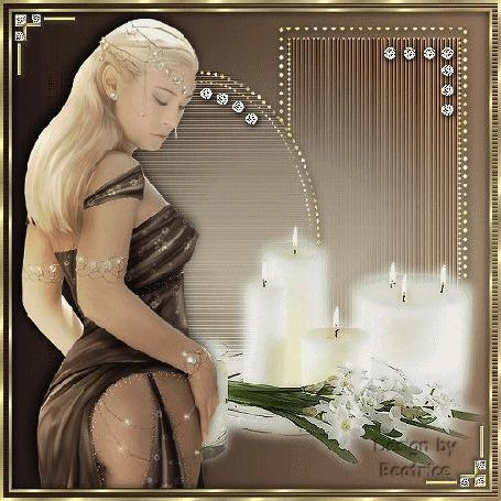 Анимация Грустная девушка блондинка на фоне цветов и свечей с украшениями
