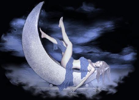Анимация Девушка лежит на луне в облаках на сиреневом фоне (© qalina), добавлено: 10.06.2015 10:53
