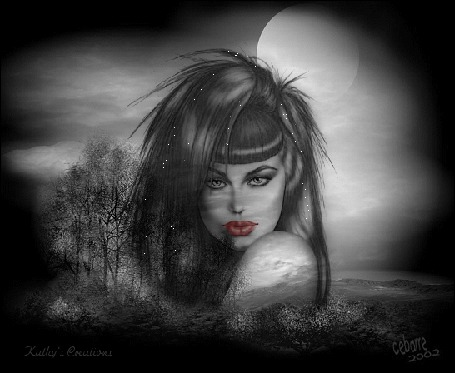 Анимация Девушка на темно-сером фоне при лунном свете с ярко накрашенными губами