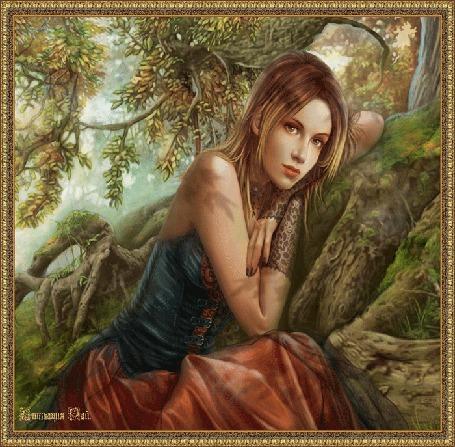 Анимация Девушка сидит в лесу под деревом, Анимация Рай
