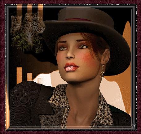 Анимация Девушка в шляпе с серьгами, на фоне леопарды (© qalina), добавлено: 11.06.2015 06:17