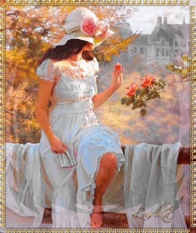 Анимация Девушка в белой шляпке и белом наряде сидит на перилах на фоне цветов (© qalina), добавлено: 11.06.2015 17:16