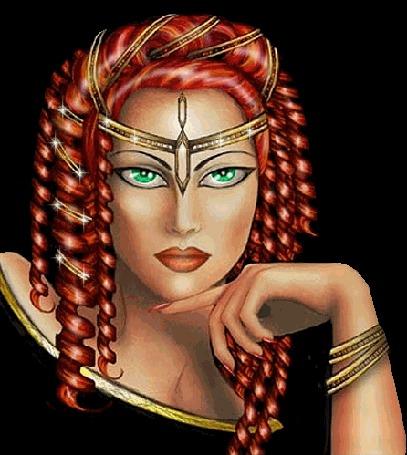 Анимация Девушка с рыжими локонами украшением на лбу и руке с зелеными глазами (© qalina), добавлено: 13.06.2015 06:56