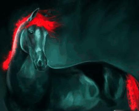 Анимация Лошадь с красной гривой и хвостом (© zmeiy), добавлено: 13.06.2015 12:39