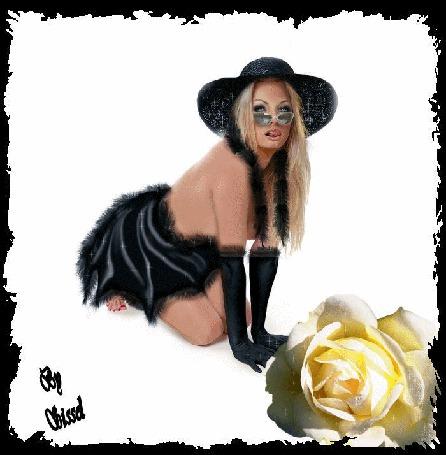 Анимация Девушка с голубыми глазами в шляпе и в очках стоит на коленках с высунутым язычком на фоне желтой розы / Ba Obissd/ (© qalina), добавлено: 13.06.2015 12:59