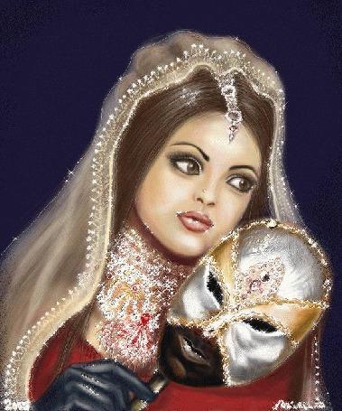 Анимация Грустная девушка с красивыми глазами с маской в руке (© qalina), добавлено: 13.06.2015 13:11