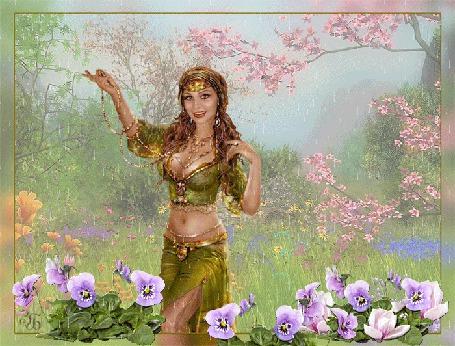 Анимация Девушка индианка с улыбкой на лице под дождем на фоне цветов (© qalina), добавлено: 13.06.2015 14:15