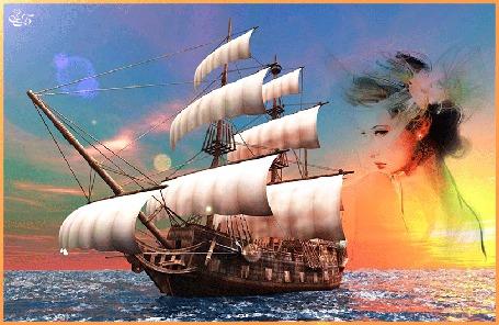 Анимация На фоне моря корабль парусник-галера и красивая грустная девушка / З, Б,/ (© qalina), добавлено: 13.06.2015 14:29